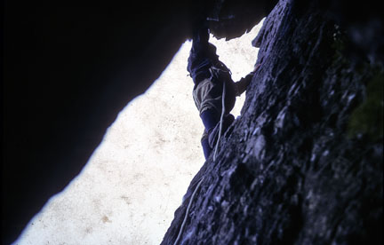 Joe on the last pitch of Longland's Route