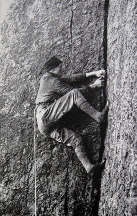 A climber laybacking up this famous pitch